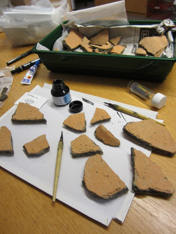 Roman pottery being marked with layer numbers