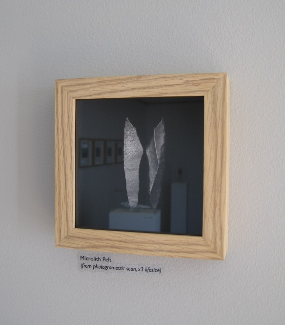 Part of Simon Ryder Exlab exhibition featuring the mesolithic barb, the 'pelt'