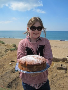 Masiey with her yummy cake, it did not last long.