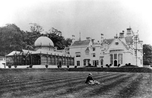 A picture dated 1867 of the conservatory from the west lawn of the house soon after its completion.