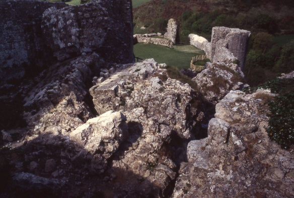 The view through the blocked Inner Ward gate towards the West Bailey before opening