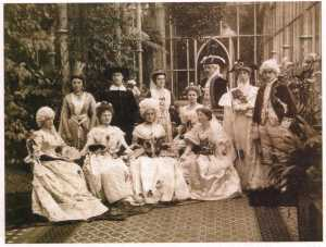 Tyntesfield c.1900. A fancy dress party in the conservatory