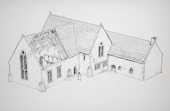 Artist's reconstruction of the Treasurer's House in the 15th century. Great Hall left with cut away roof to show decorated structure. In the middle is the 13th century  house with the solar window at first floor level. The ground floor has been converted to a parlour by this time. The kitchen is the building on the right