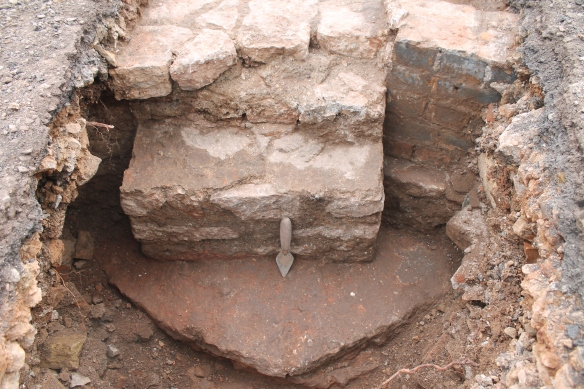 The ring foundation. A stone pad to support  one of the iron columns around the dome.