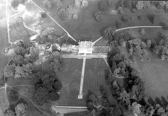 Kingston Lacy park looking north. Egyptian obelisk bottom of the picture. The central drive lies immediately north of the house. The old north-west 18th century vista is preserved in the present access drive.