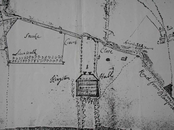 The earliest map we have of Kingston Lacy House and garden dates to 1742.  That is 80 years after the house was first built. The double rows of trees leading south of the house might explain the (tree?) pits we surveyed but the other features we detected may relate to the earliest garden designed to go with the first house when it was built in the 1660s.