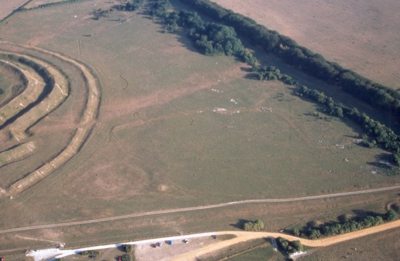 The ramparts and ditches of Badbury Rings hillfort are on the left. Along the bottom  of the picture above the car park is the line of the Roman road to Dorchester. Bottom left, just above the road and to the right of Badbury is the roughly circular parch mark of an enclosure (about 60m in diameter) and within it the square block of parched ground where the buried masonry of makes the grass die back in dry weather.