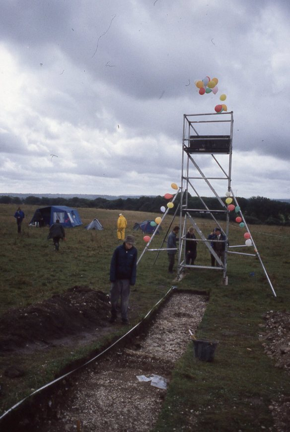 Base camp, Badbury,  the scaffold tower decorated for Helen's birthday.