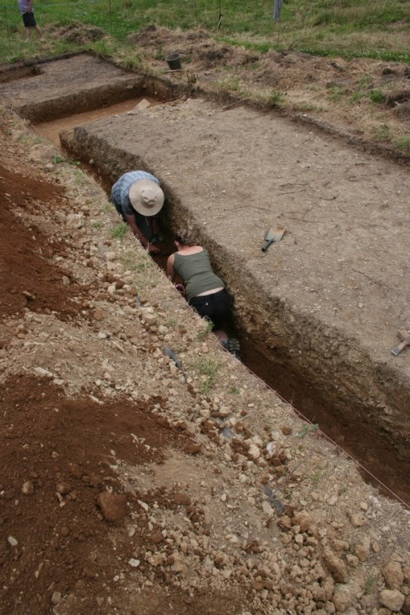 Volunteers disappear in to trench A!