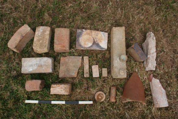 Bricks and kiln furniture.