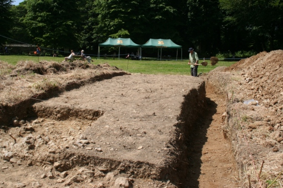 Chris gets closer to completing his cross-section in trench A
