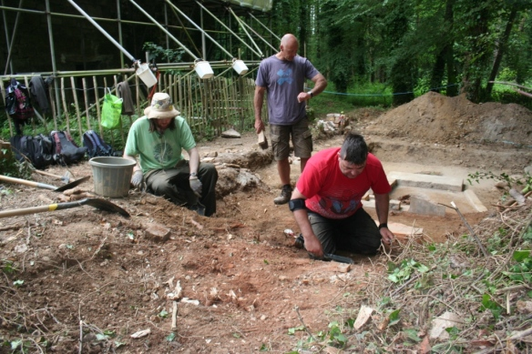 Timing the kiln digging race.