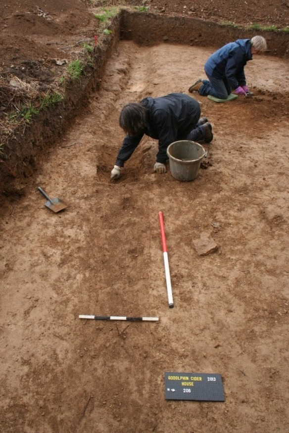 Final dig of the medieval drainage gully.