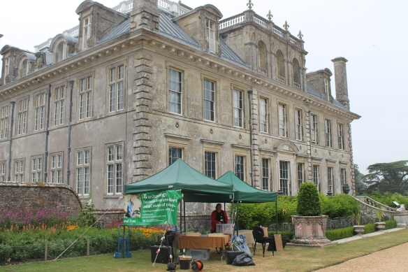 Setting up for the archaeology days at Kingston Lacy House