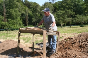 Sieving for finds in trench A