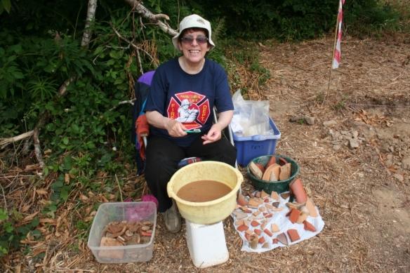 Sandra has been washing pottery from the 1970's kiln.