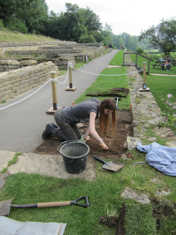 The trench to check the mosaics under the turf