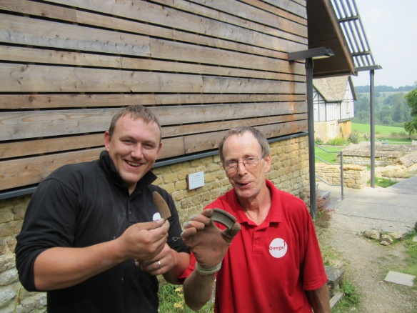 Dave and Paul with the two rim sherds they found