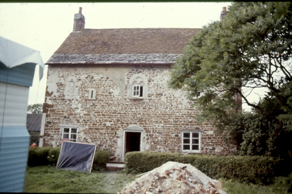 Lodge Farm with most of the lime render that once covered it removed. Easy to understand that it could be mistaken for an 18th century cottage but the thick walls and the gothic window tracery were clues to its early history once they were revealed.