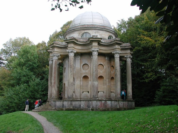 The Temple of Apollo at Stourhead, Wiltshire  commissioned by the landowner Henry Hoare and placed  on a spur of land above the ornamental lake to be seen and to from whic to view other classical garden buildings such as the Pantheon and the Temple of Flora.