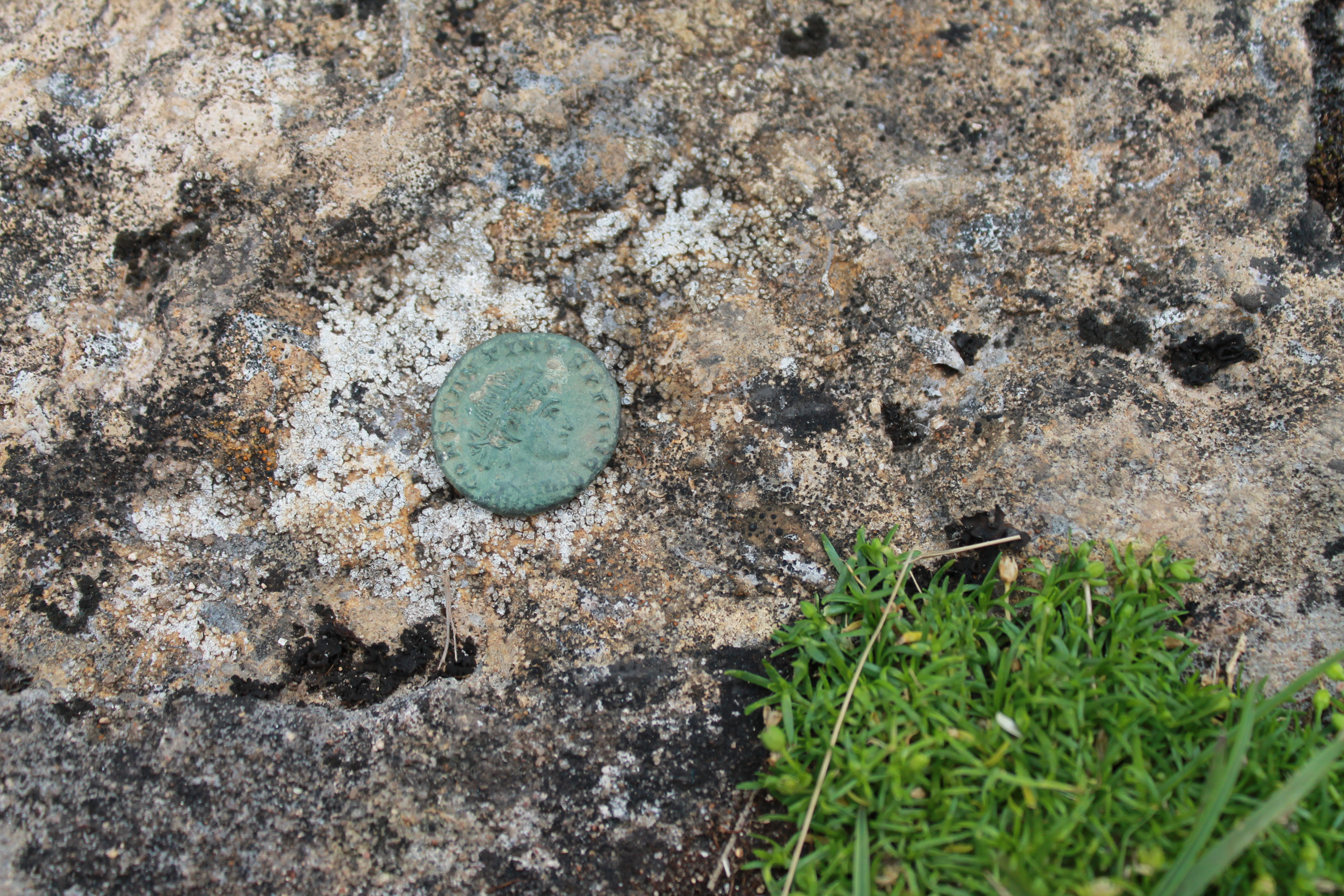 An early 4th century coin of Constantine the Great found amongst the rubble of the building found this year.
