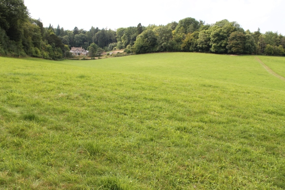 The position of Chedworth Roman villa at the head of its valley. The most visible building now is the Victorian lodge built with a site museum soon after the villa excavation in 1864. The Roman building rubble   found by Matthew can be seen against the field edge top right. The photo is taken from the mound which  covers another Roman building. The road to the villa was seen on the geophysical surveys running up the centre of the valley with two parallel linear banks and ditches lying equidistant and flanking the road about 30m from its edge. Perhaps they marked an avenue of trees making a grand approach to the villa. The tradesmans's entrance was probably screened running along the south side of the valley to the left of the photograph. The circular'Capitol' found in 1864 would have been visible on the skyline in Roman times but the footings of this building were removed by the railway after 1889.