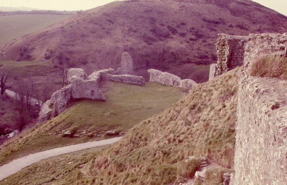 Looking from the Inner Ward down onto the West Bailey in 1986. The tarmac path runs beside the remains of a wall thought to date to the 12th century