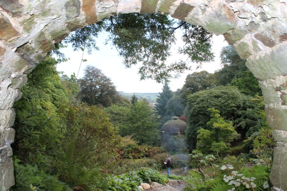 The view from Cotehele, of the dovecote and the woodland garden that leads down to the River Tamar.