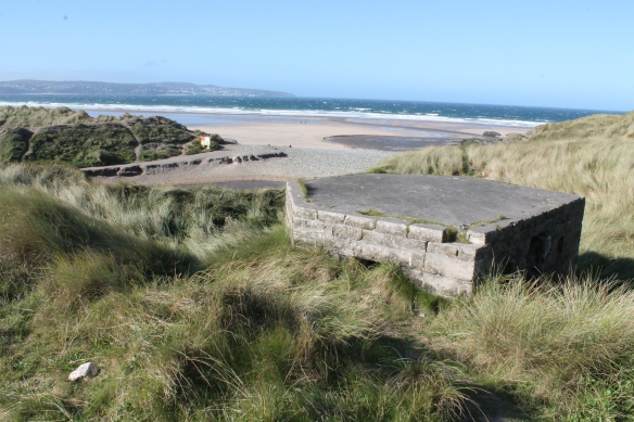 Stone WWII pillbox guarding Godrevy beach.