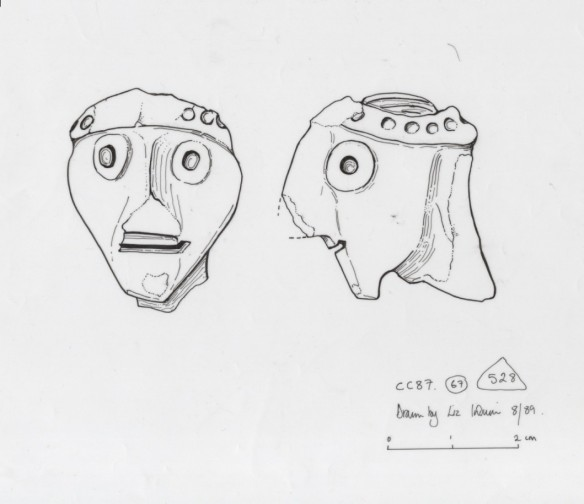 The archaeological illustration of the pottery head found at Corfe Castle in 1987