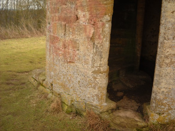 The 18th century prospect tower over the footings of the medieval chapel of St Michael.