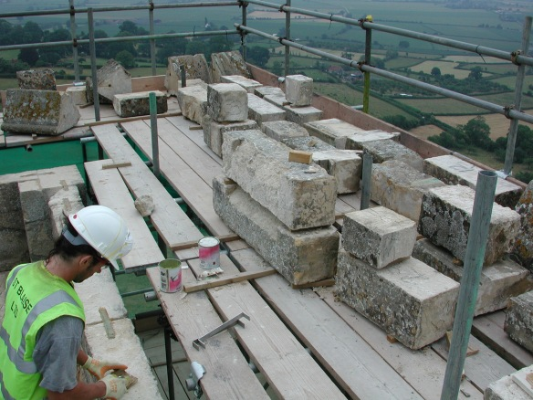 Building repairs to the parapet on the top of St Michael's Tower 2003