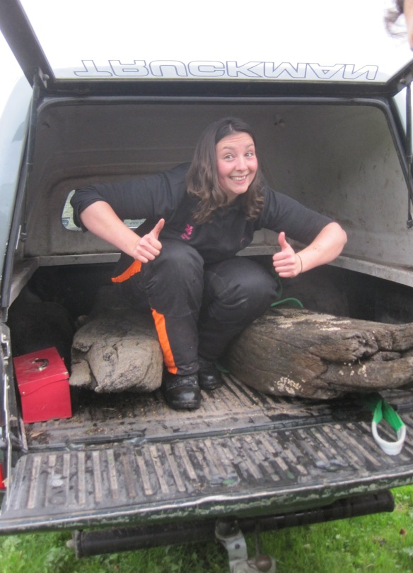 Vicki happy hat the tail gate on her landrover has survived the heavy timbers