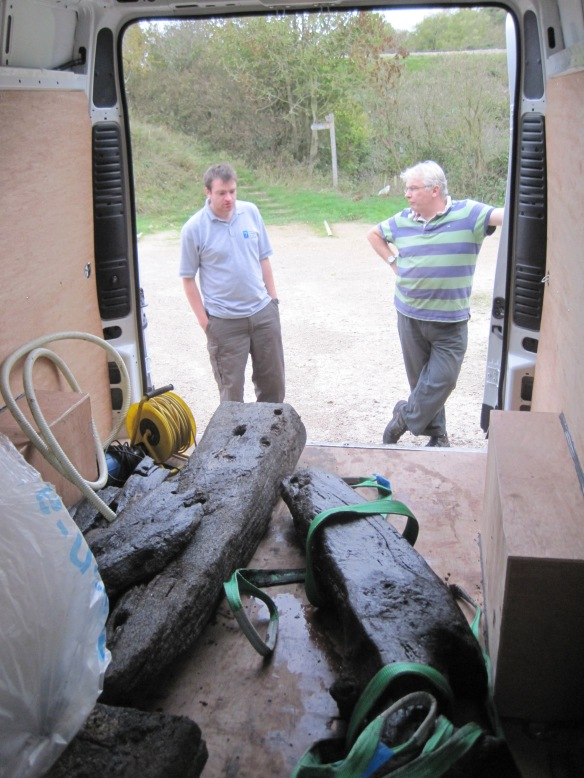 Tom and Dave and the timbers safely stored for the journey