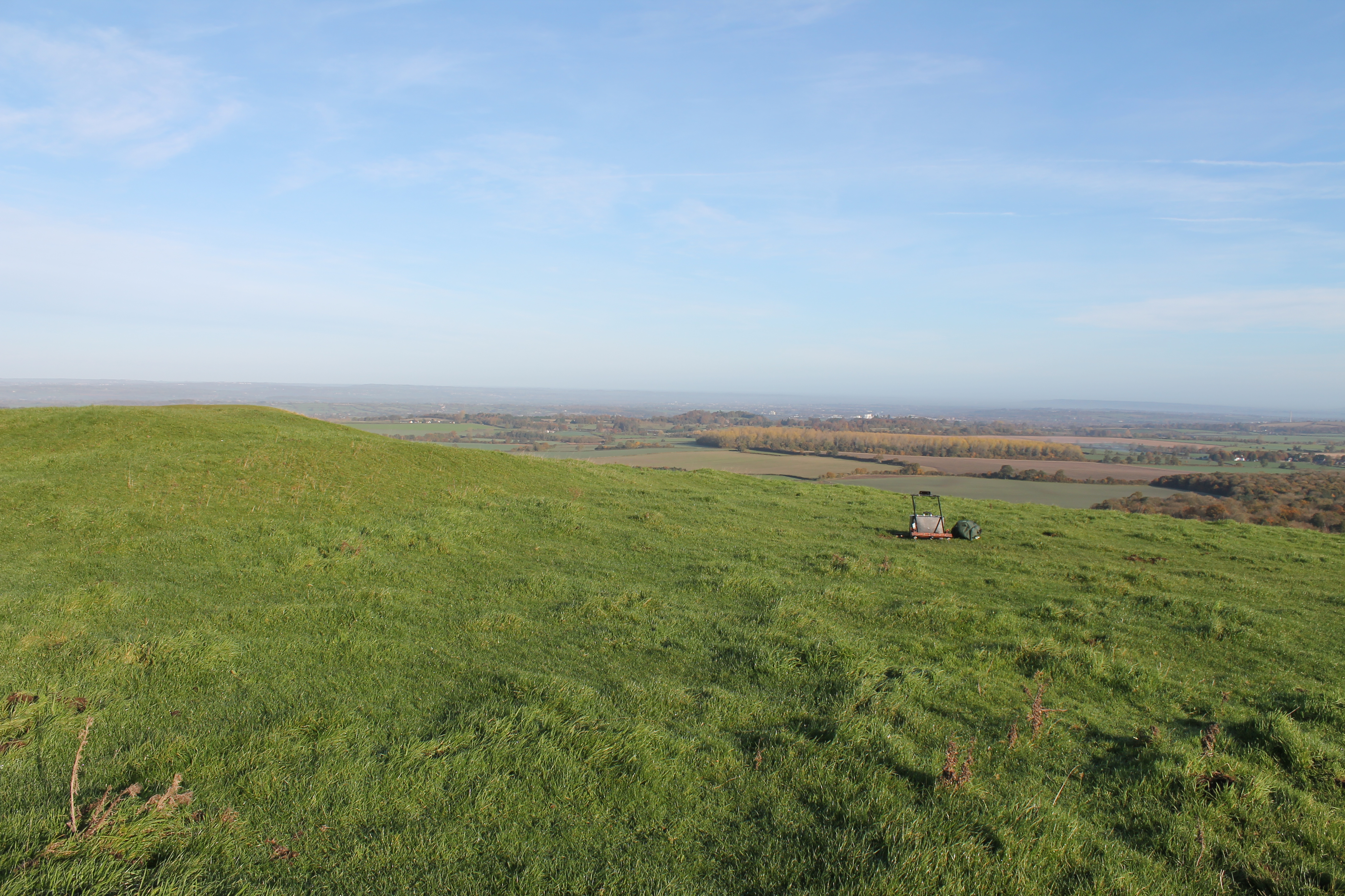 Early morning on Cley Hill  with my resistivity meter for scale. Not much use for anything else at the moment.