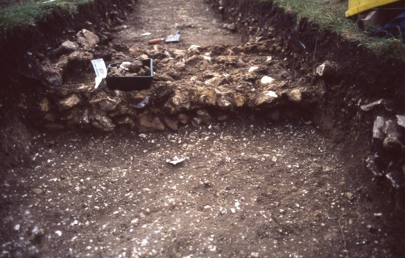 September 2000, a Roman wall footing from Badbury temple. Finally written up and sent for publication yesterday.