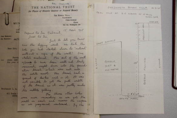 The last letter from Chedworth's custodian Norman Irvine to Sir Ian Richmond to update him on recent excavation work in the North Range (Sackler Library, Oxford University)