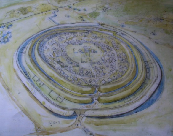 Reconstruction drawing of Badbury Rings, Dorset by Liz Induni for the National Trust