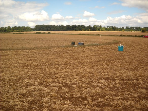 The barrow mound, a faint rise in arable. The survey enabled the burial mound to be take out of the plough.