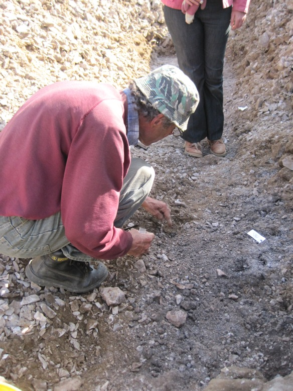 Rob collecting charcoal on site at Golden Cap