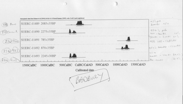 One of the charts showing results from samples from Badbury Rings