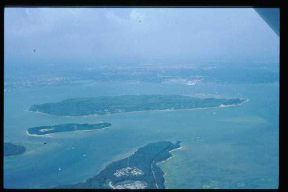 Brownsea the largest island in the middle of Poole Harbour, Dorset. I took this photo from a light aircraft in 96.