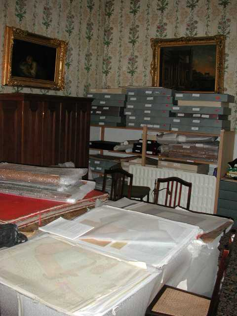 The archive room at Kingston Lacy House. Until the 1980s the Bankes family archive including Willliam Woodward's survey was stored in the mansion and few people had seen it