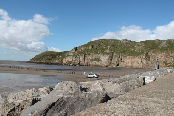 Brean Down looking NW a  carboniferous limestone ridge on the south side of the Bristol Channel entrance.