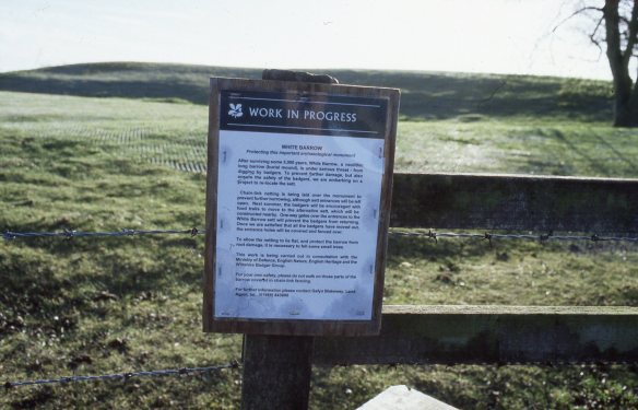 The notice explaining the badger re-homing work after the main barrow had been fenced.