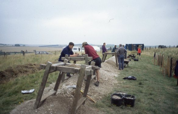 The volunteer archaeologists on a working holiday sieving the badger spoil for prehistoric flints and pottery.