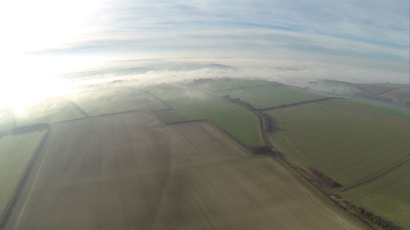 A late summer morning Bishops Court Farm from the air as the mist is clearing.