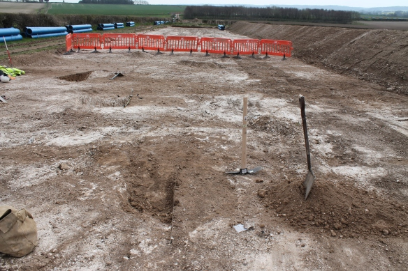 The water pipe-line ploughsoil stripping to reveal prehistoric ditches and pits cutting chalk.