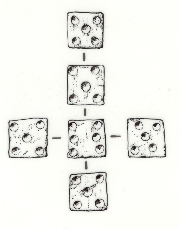 A drawing of the Corfe Castle bone die showing the alterations to the dot numbers