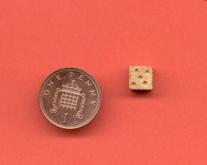 A very small bone die from Corfe Castle outer guard chamber